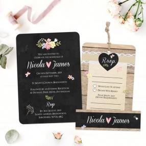 Rustic Chalkboard Flowers - Boutique Wedding Invitation & RSVP