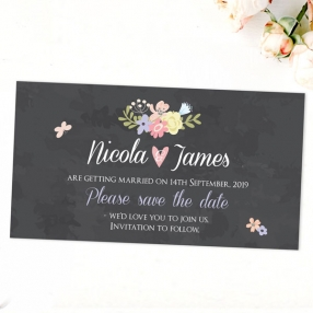 Rustic Chalkboard Flowers - Save the Date Magnets