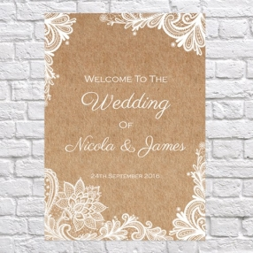 Rustic Lace Pattern - Wedding Sign Range