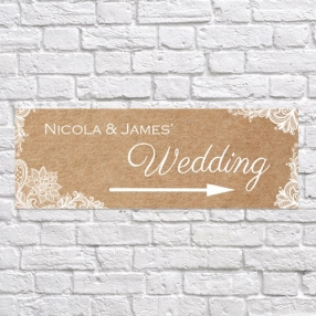 Rustic Lace Pattern - Arrow Wedding Signs