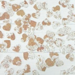 Rustic Lace Pattern - Heart Table Confetti