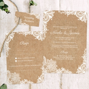 Rustic Lace Pattern - Boutique Wedding Invitation & RSVP
