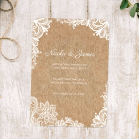 Rustic Lace Pattern - Boutique Save the Date Cards