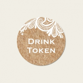 Rustic Lace Pattern - Drink Tokens - Pack of 30