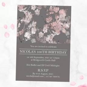 100th Birthday Invitations - Sakura Blossom