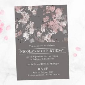 70th Birthday Invitations - Sakura Blossom