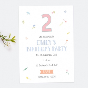 Personalised Kids Birthday Invitations - Scattered Flowers - Pack of 10