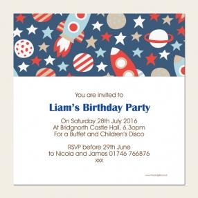 Personalised Kids Birthday Invitations - Space Rocket Pattern - Pack of 10