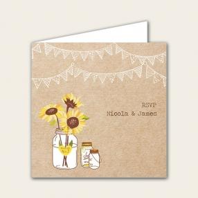 Rustic Sunflowers - Wedding RSVP Cards