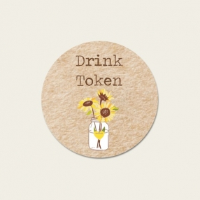 Rustic Sunflowers - Drink Tokens - Pack of 30