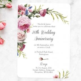 30th Wedding Anniversary Invitations - Vintage Flowers