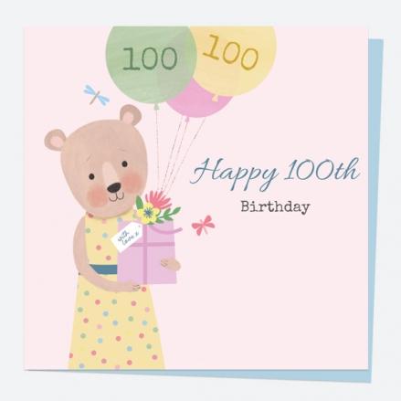 100th Birthday Card - Dotty Bear - Balloons - 100th