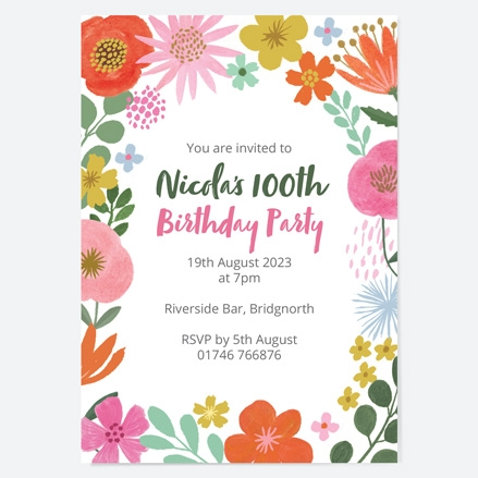 100th-birthday-invitations-beautiful-blooms-flowers-birthday-party