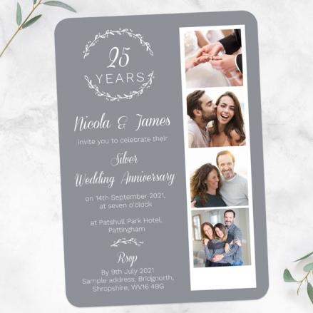 25th-Wedding-Anniversary-Invitations-Photo-Strip-Leaf-Pattern-Back