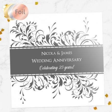 25th Foil Wedding Anniversary Invitations - Antique Swirls