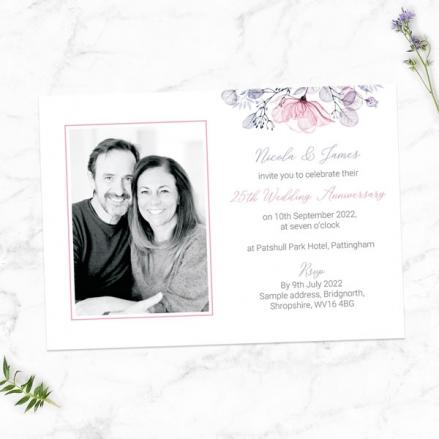 25th-Wedding-Anniversary-Invitations-Lilac-&-Pink-Flowers