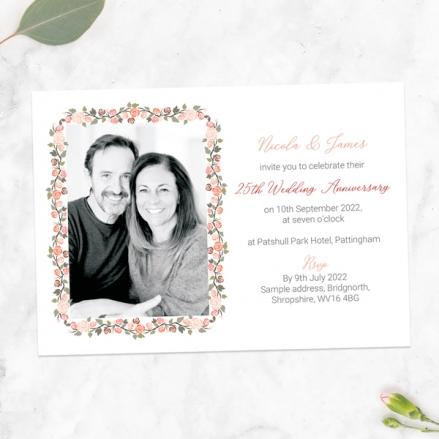 25th-Wedding-Anniversary-Invitations-Peach-Rose-Border