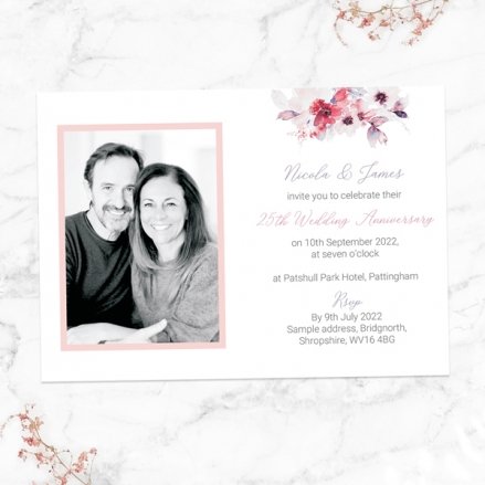 25th-Wedding-Anniversary-Invitations-Pink-Watercolour-Bouquet