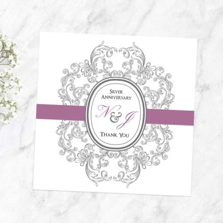 25th Anniversary Thank You Cards - Baroque Border