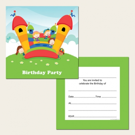 Ready to Write Kids Birthday Invitations - Bouncy Castle Birthday Party - Pack of 10