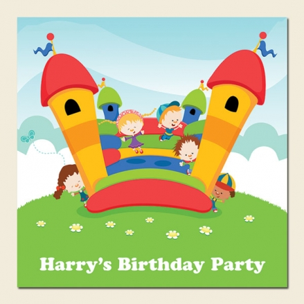 Personalised Kids Birthday Invitations - Bouncy Castle Birthday Party - Pack of 10