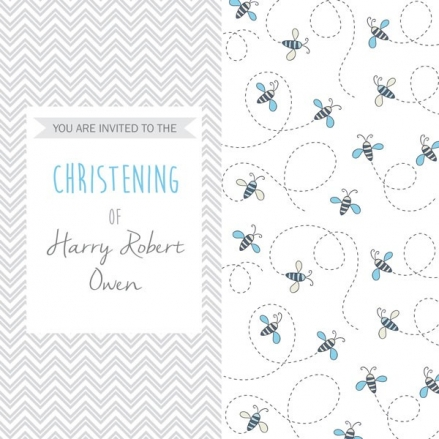 Christening Invitations - Boys Busy Bee - Postcard - Pack of 10