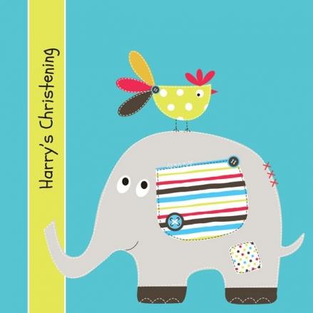 Christening Invitations - Elephant & Bird - Postcard - Pack of 10