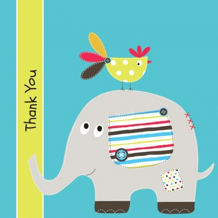Thank You - Elephant & Bird - Postcard - Pack of 10