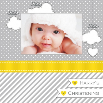 Christening Invitations - Grey & Yellow Cloud Use Your Own Photo - Postcard - Pack of 10