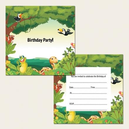Ready to Write Kids Birthday Invitations - Rainforest Animals - Pack of 10