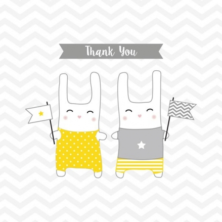 Thank You - Twin Bunnies - Postcard - Pack of 10