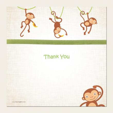 Ready to Write Kids Thank You Cards - Boys Monkey
