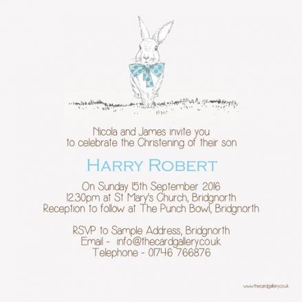 Christening Invitations - Boys Rabbit & Bow Tie - Postcard - Pack of 10