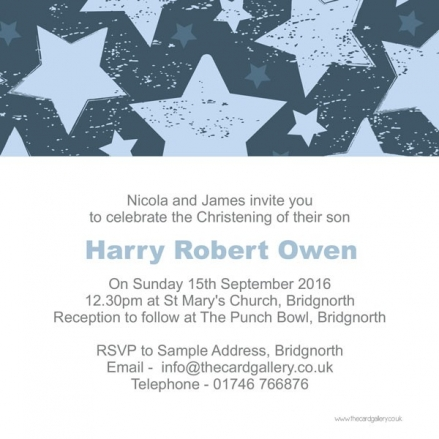 Christening Invitations - Boys Vintage Stars - Postcard - Pack of 10