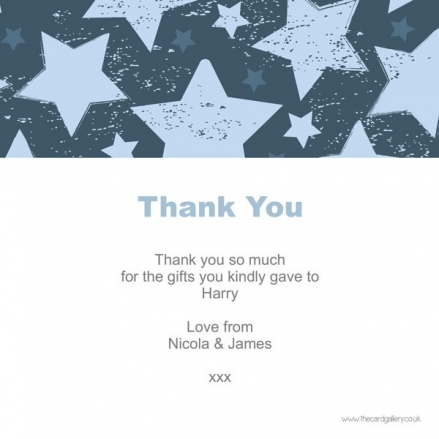 Thank You - Boys Vintage Stars - Postcard - Pack of 10