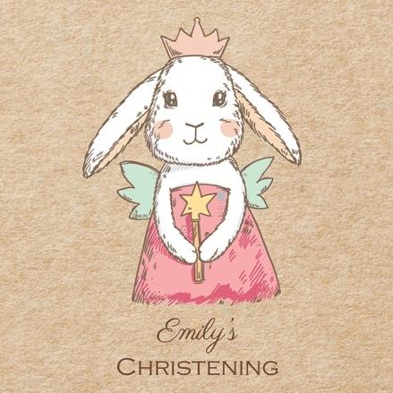 Christening Invitations - Bunny Fairy - Postcard - Pack of 10