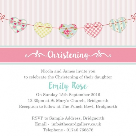 Christening Invitations - Cute Heart Bunting - Postcard - Pack of 10