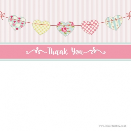 Thank You - Cute Heart Bunting - Postcard - Pack of 10