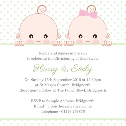 Christening Invitations - Cute Twins - Postcard - Pack of 10