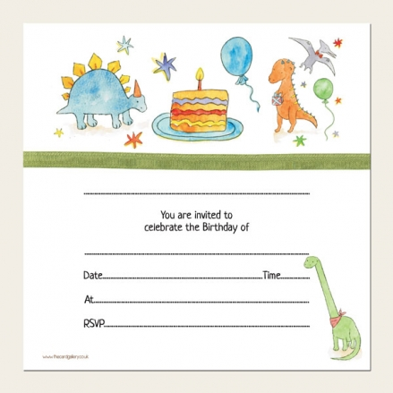 Ready to Write Kids Birthday Invitations - Dinosaur Cake Party - Pack of 10