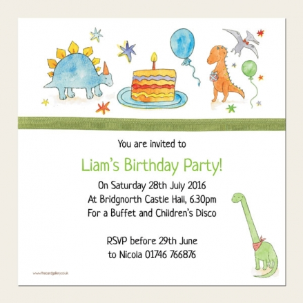 Personalised Kids Birthday Invitations - Dinosaur Cake Party - Pack of 10