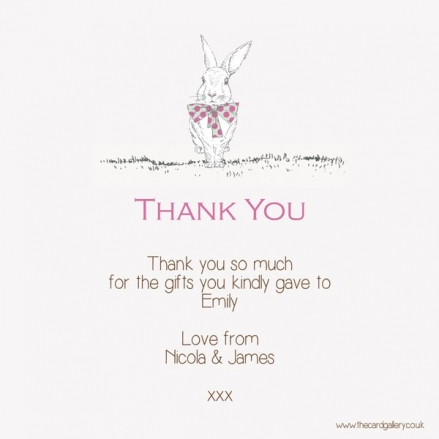 Thank You - Girls Rabbit & Bow Tie - Postcard - Pack of 10