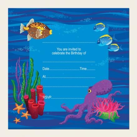Ready to Write Kids Birthday Invitations - Sealife Aquarium - Pack of 10