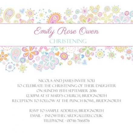 Christening Invitations - Pastel Heart Mix - Postcard - Pack of 10