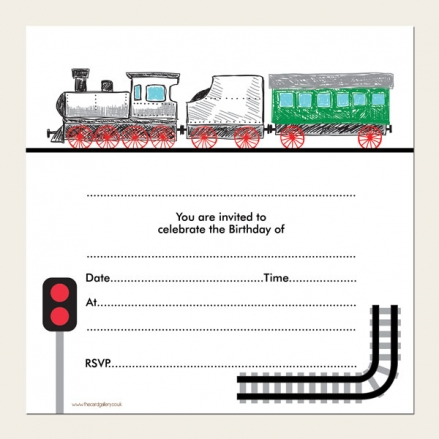 Ready to Write Kids Birthday Invitations - Railway Train Party - Pack of 10