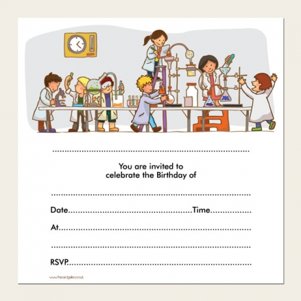 Ready to Write Kids Birthday Invitations - Science Party - Pack of 10