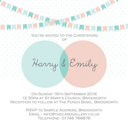 Christening Invitations - Twins Dotty Bunting - Postcard - Pack of 10