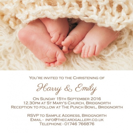 Christening Invitations - Twins Peeping Toes - Postcard - Pack of 10