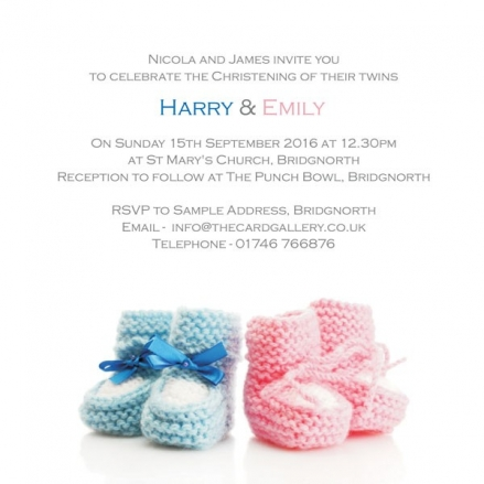 Christening Invitations - Twins Knitted Booties - Postcard - Pack of 10