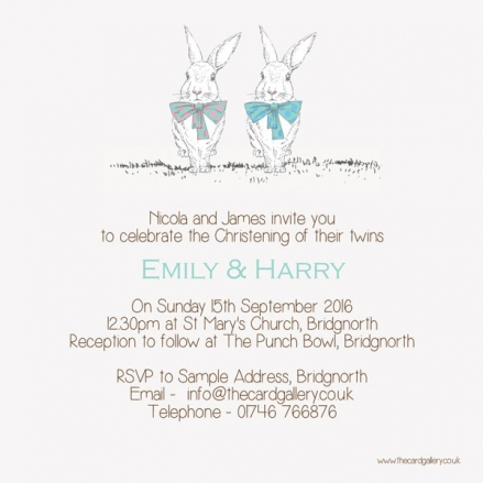 Christening Invitations - Twin Rabbits & Bow Ties - Postcard - Pack of 10